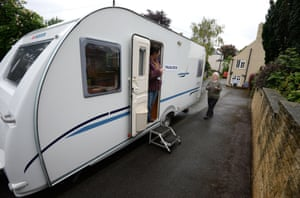 A woman arrives to vote in a caravan in Little Smeaton.