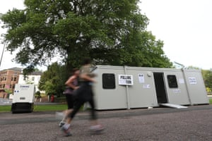 A mobile is used as a polling station in Preston Park, Brighton.