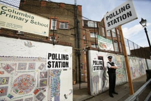 A polling station on Columbia Road in Tower Hamlets, east London.
