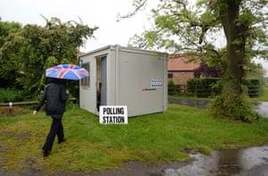 A small mobile polling station in Biggin.
