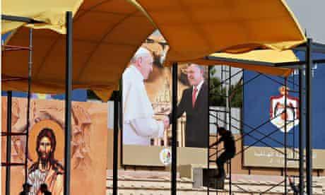 Pope Francis poster in Jordan