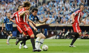 Inter's Diego Milito opens the scoring against Bayern in 2010.