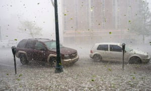 A hail storm hits downtown Colorado Springs