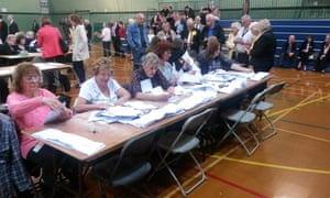 Counting begins at Fleming Park Leisure Centre in Eastleigh for the Eastleigh Borough Council elections.