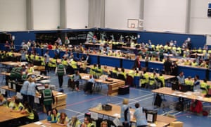 The election count for Bristol City Council gets underway at the City Academy school in Bristol.