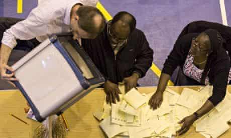 Local elections: ballot box containing votes in Croydon