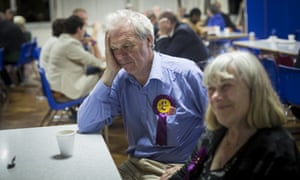 Ukip members wait for results of local election during the counting of votes at Trinity school in Croydon.