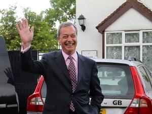 Ukip Leader Nigel Farage waves as he leaves his home in Cudham, Kent this morning.