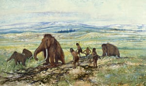 An illustration of a mammoth hunt