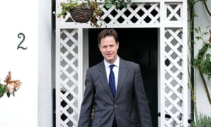 Nick Clegg leaving his home this morning.