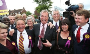 Nigel Farage celebrates with local councillors oin South Ockenden.