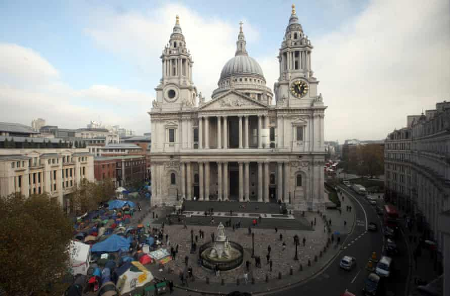 Occupy London demonstrators outside St Paul's Cathedral in 2011.