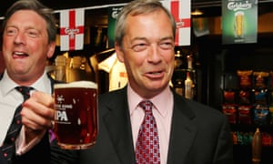 Ukip party leader Nigel Farage enjoying a pint in the Hoy and Helmet Pub in South Benfleet, Essex as he celebrates his party's success.