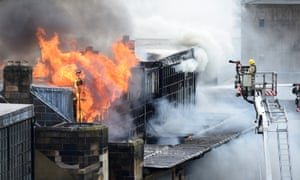 Firefighters tackle the blaze at the Glasgow School of Art