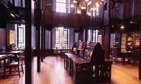 The library inside the Glasgow School of Art's Charles Rennie Mackintosh building