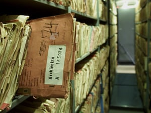 Card indexes of the former East German Stasi secret service are seen in Berlin.