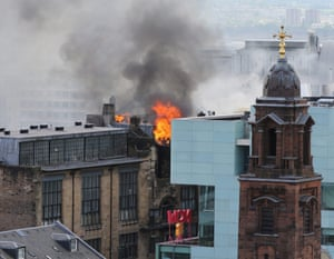 Fire crew tackle a major blaze at the Glasgow School of Art, in Glasgow.