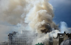 Smoke rises into the sky after a fire broke out at the Glasgow School of Art Charles Rennie Mackintosh Building in Glasgow.