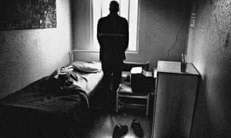 An inmate in his cell at Feltham young offenders institute