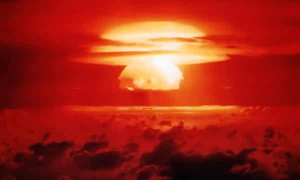 Nuclear testing on Bikini Atoll: the US and USSR eventually agreed to ban such tests.