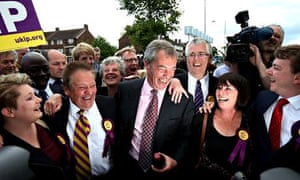 Nigel Farage celebrates with Ukip councillors in Thurrock, Essex