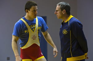 Steve Carell, right, and Channing Tatum in Foxcatcher.