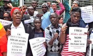 LGBT rights activists and supporters protest against the deportation of Ugandan lesbian Aidah Asaba
