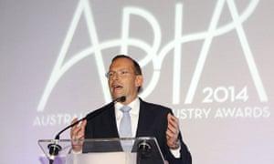 Tony Abbott addresses the Australian book industry awards dinner in Sydney