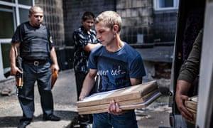 An election worker in Ukraine