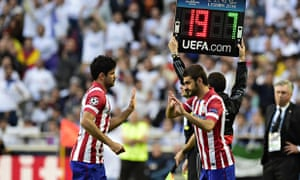 Diego Costa is replaced by Adrian Lopez