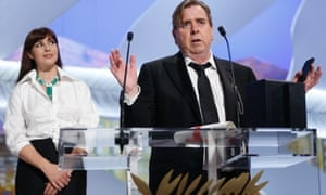 Timothy Spall addresses the audience after winning best actor for Mr Turner