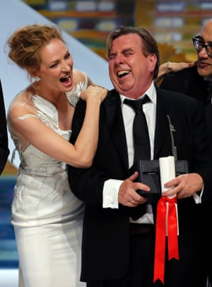 Actress Uma Thurman and actor Timothy Spall, Best Actor award winner for his role in the film Mr. Turner.