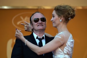 Uma Thurman and Quentin Tarantino arrive for the closing ceremony.
