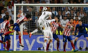 Real Madrid's Sergio Ramos heads home the injury-time equaliser