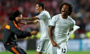 Real Madrid's Marcelo celebrates after scoring to give his side a 3-1 lead