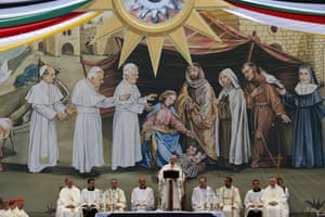 Pope Francis leads an open air mass in Manger Square.