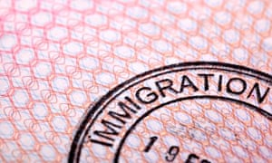 An immigration stamp in a passport