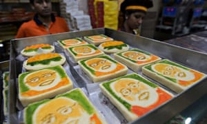 Indian sweets bearing the face of Narendra Modi
