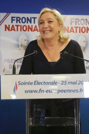 Here is Marine Le Pen addressing the party faithful at the Front National's headquarters in Nanterre, just outside Paris, earlier this evening. The hard-right, eurosceptic party founded by her father has just finished first in a French national election for the first time, recording just under 25% of the vote.