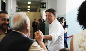 Italian prime minister and Democratic Party leader Matteo Renzi is congratulated by voters.