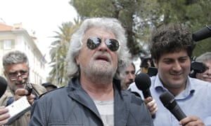 Five Stars movement's leader and former comedian Beppe Grillo speaks with journalists.