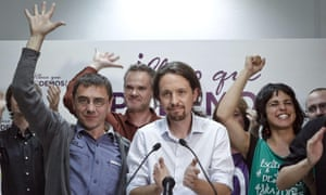 Podemos party candidate for the European parliament Pablo Iglesias gives a speech after hearing the results in Madrid.