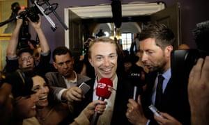 Morten Messerschmidt, principal candidate for Danish People's Party, arrives at the Danish Parliament in Copenhagen.