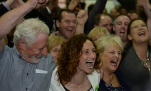 Sinn Fein's Lynn Boylan surrounded by her family, friends and supporters, celebrates her win in the European parliamentary elections count in Dublin.