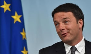Italian prime minister Matteo Renzi faces the media at a press conference the day after the results of the European parliament elections.