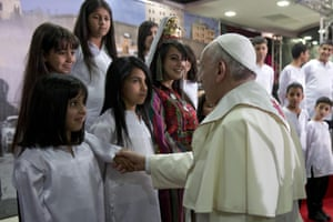 Pope Francis meets children in the Phoenix Centre of the Dheisheh refugee camp, near the town of Bethlehem.
