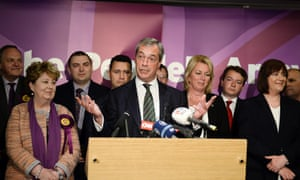 Nigel Farage with with his newly elected MEPs during a press conference in central London,
