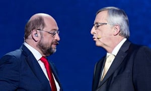 Two candidates for the European commission president: Martin Schulz and Jean-Claude Juncker.