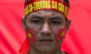 A Vietnamese protester during a demonstration in Hong Kong against China's stance in the South China Sea.