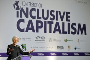 Christine Lagarde, the Managing Director of the International Monetary fund, presents her address to the Inclusive Capitalism Conference at the Mansion House in the City of London, Tuesday May 27, 2014.